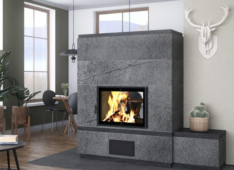 Moderner grauer Speckstein Ofen im Wohnzimmer